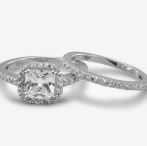 Jewelry - ONLY 7 LEFT! Sterling Silver Wedding CZ Ring Set